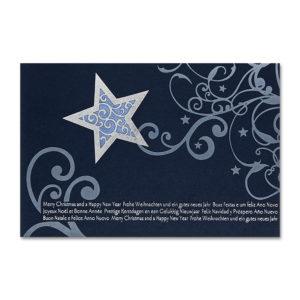 "Weihnachtskarte, dunkelblauer Samtkarton, filigrane Silber-Mattprägung, Laserschnitt ""Stern"", inkl. Einlegeblatt ,silberne Folienprägung Klappkarte"