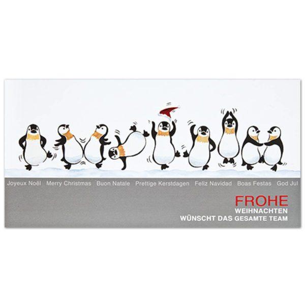 """Weihnachtskarte, Teamkarte """"Fröhliche Pinguine"""" Klappkarte"""