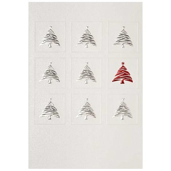 Weihnachtsklappkarte, Designkarton irisierend und creme, Folienprägung rot und silber, mit Blindprägung