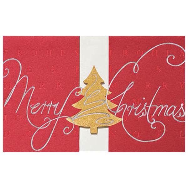 Weihnachtskarte, dunkelroter Karton, Stanzung, Einlegeblatt, drei FolienprägungenKlappkarte
