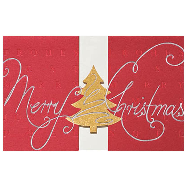Christbaumkugeln Outlet.Weihnachtskarte Dunkelroter Karton Stanzung Einlegeblatt Drei Folienpragungen Klappkarte