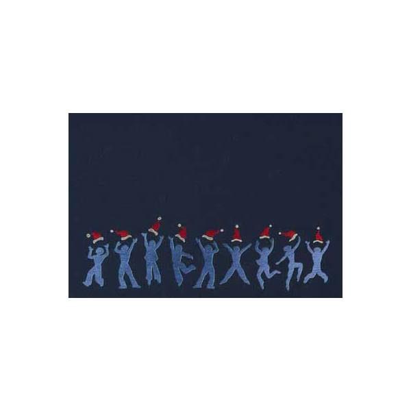 Weihnachtskarte, dunkelblauer Karton, silberne und rote Folienprägung, Laserschnitt, inkl. Einlegeblatt mit blauer Folienprägung Klappkarte