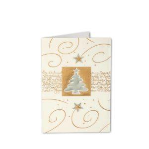 Weihnachtskarte, Transprint, mit Einlegeblatt, silberne und goldene Folienprägung Klappkarte