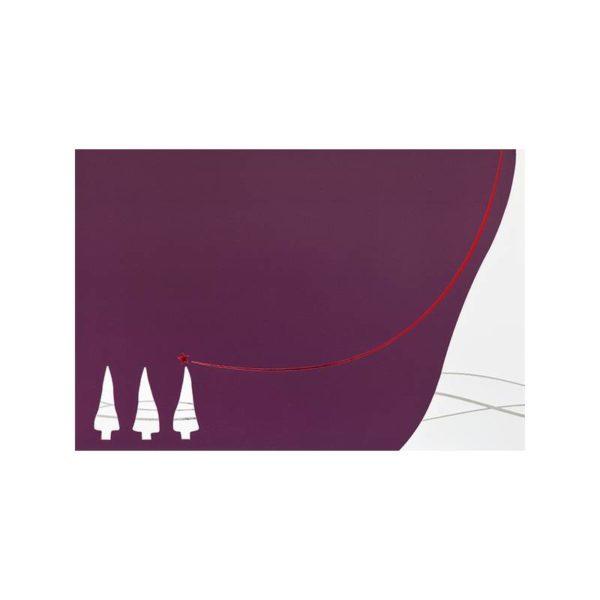 """Weihnachtskarte, Trendfarbe pflaume Stanzung """"Bäume"""", mit Einlegeblatt, silberne und rote Folienprägung Klappkarte"""