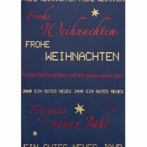 Weihnachtskarte, dunkelblau mit Text, goldene und rote FolienprägungKlappkarte