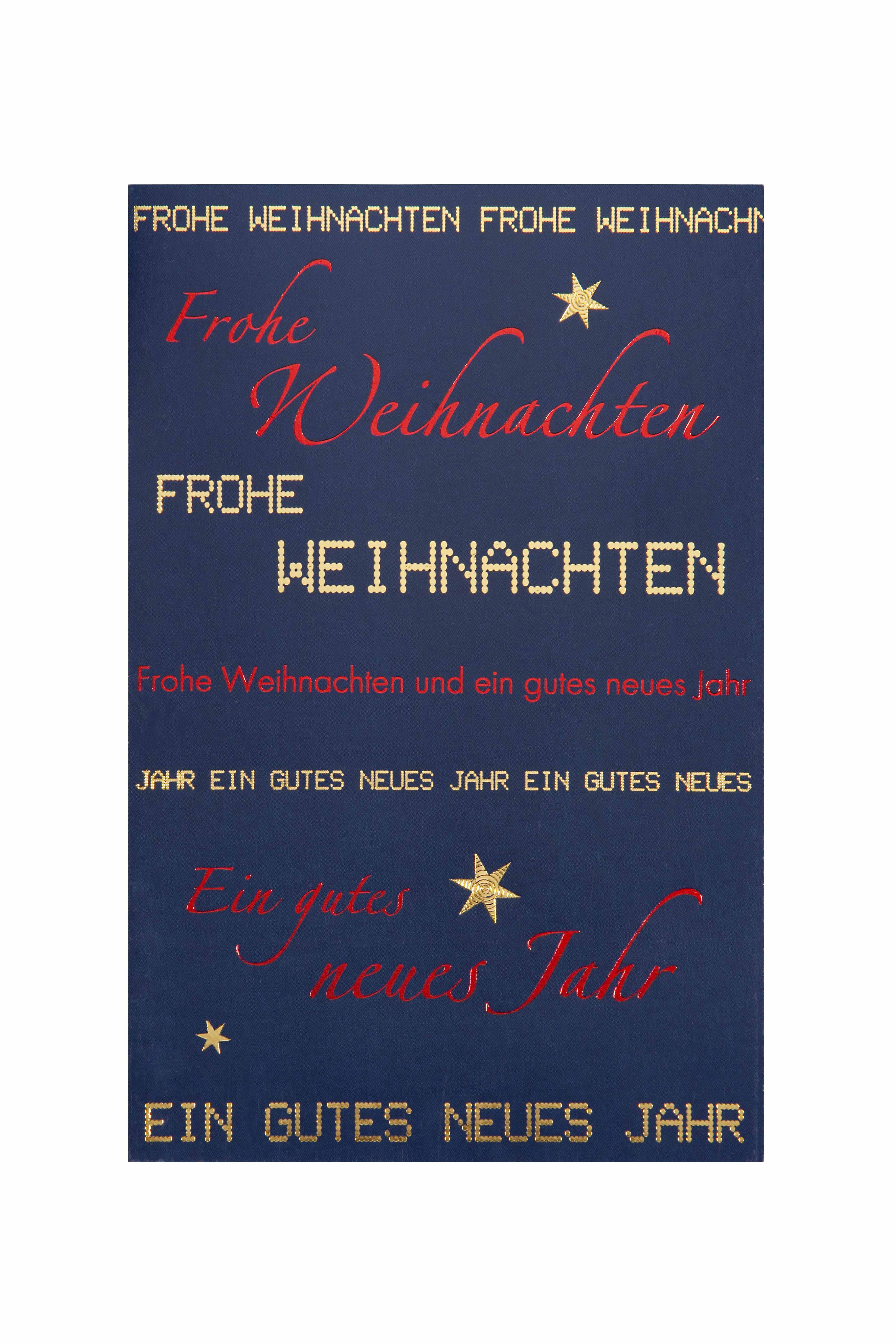 weihnachtskarte dunkelblau mit text goldene und rote. Black Bedroom Furniture Sets. Home Design Ideas