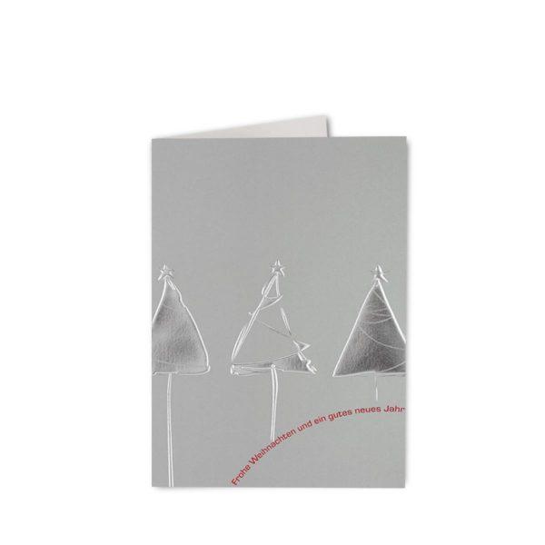 Weihnachtskarte, irisierender silbener Karton mit 2 Folien Klappkarte