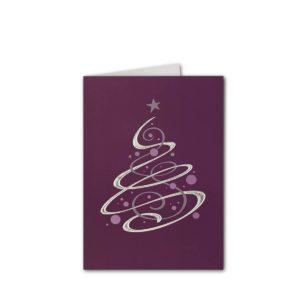 Weihnachtskarte, Trendfarbe pflaume, irisierend, 2 Folien Klappkarte