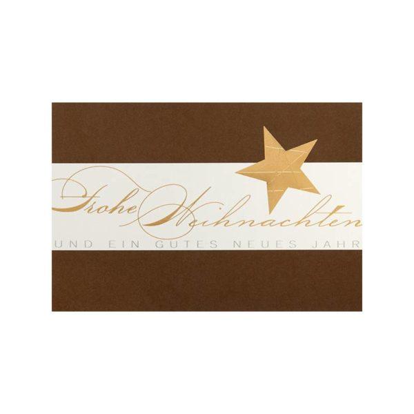 Weihnachtskarte, brauner Karton, silberne und goldene Folienprägung, Klappkarte