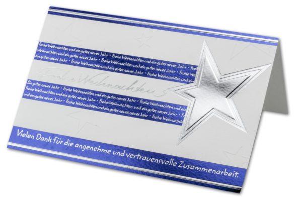 Weihnachtskarte, mit Stern, silberne FolienprägungKlappkarte
