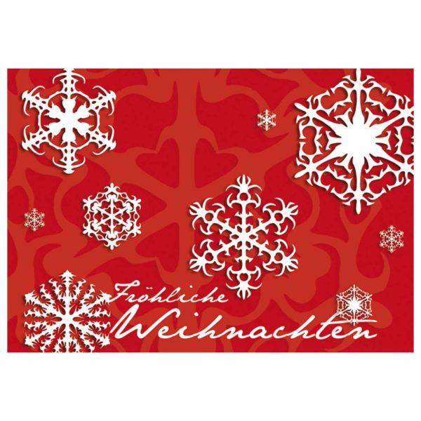 Weihnachtskarte auf rotem Designkarton mit Stern, mehrsprachig, Ausstanzung und Silberfolienprägung Klappkarte