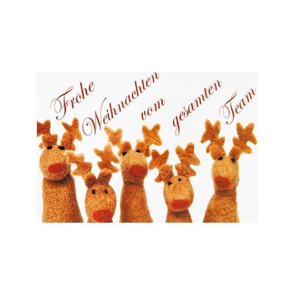 Weihnachtskarte, Offsetdruck, Rentiere Klappkarte