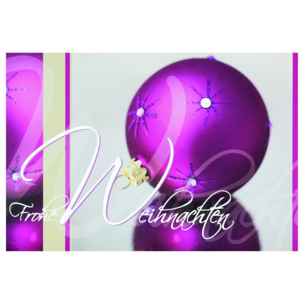 Weihnachtskarte in grau/pink mit Glaskugeln und silberner Folienprägung Klappkarte
