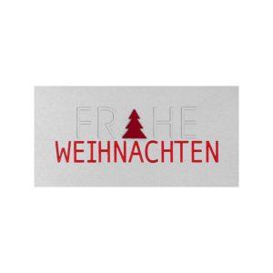 Weihnachtskarte, weißer Karton, rote Folienprägung, Blindprägung, Filzbaum in rot Klappkarte