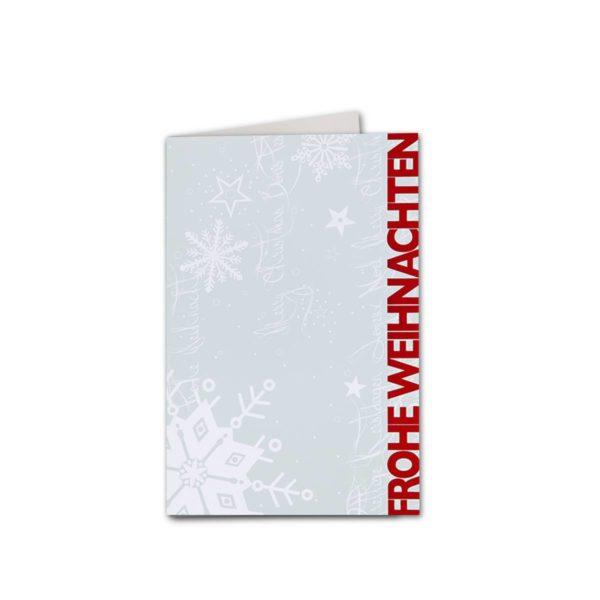 Weihnachtskarte, Offsetdruck, rote Folienprägung Klappkarte