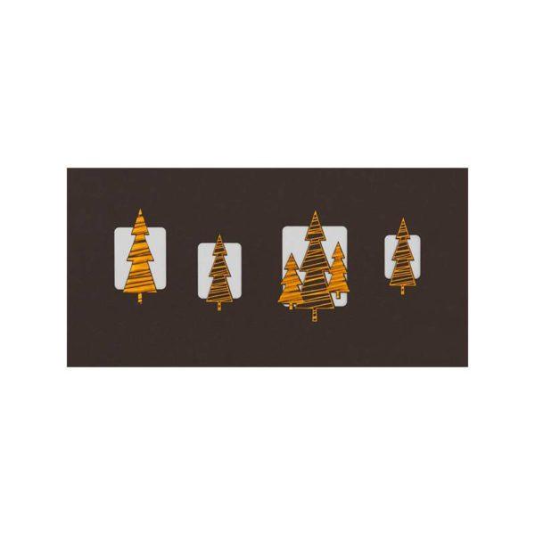 Weihnachtskarte, brauner Designkarton, Einlegeblatt creme, kupferne Folienprägung, Stanzung Klappkarte