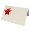 Weihnachtskarte, cremefarbenen Karton, goldene Folienprägung, Filzstern in rot auf Schlaufe Klappkarte