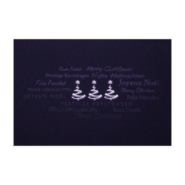 Weihnachtskarte, dunkelblauer Karton, silberne und transparente Folienprägung Klappkarte