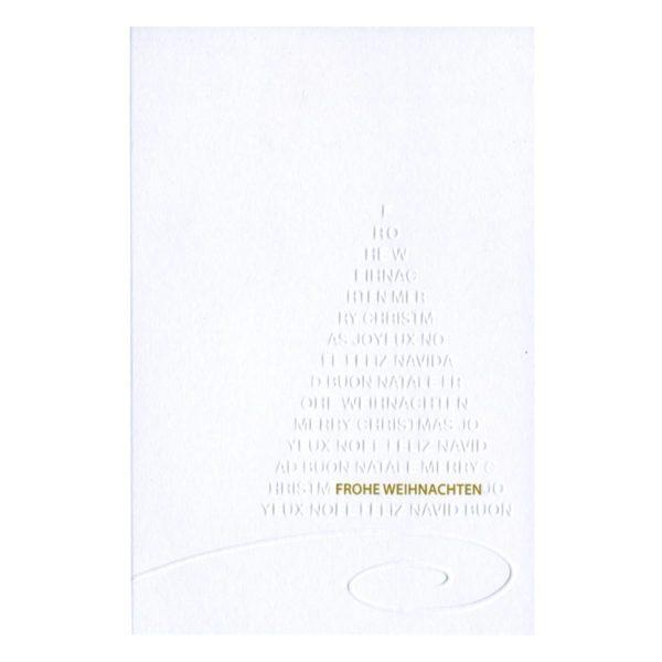 Karte in weiss mit Tannenbaum in Blindprägung. Schrift in Goldprägung Klappkarte