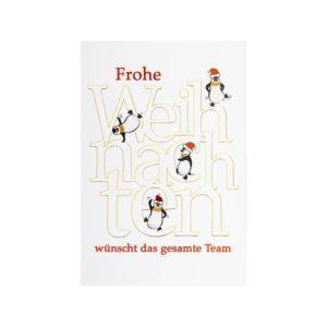 Weihnachtskarte, Teamkarte mit Pinguinen, goldene und rote Folienprägung Klappkarte