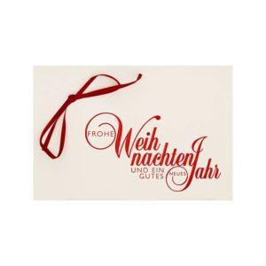 Weihnachtskarte, cremefarbener Karton, Einlegeblatt creme, rote Folienprägung, rote Schleifenapplikation Klappkarte