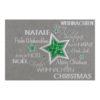 Weihnachtskarte, irisierender, grauer Karton, Folienprägung silber und grün, inkl. Einlegeblatt Klappkarte