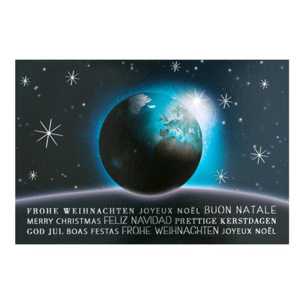 Weihnachtskarte, Offsetdruck, Weltkugel, Folienprägung silber