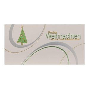 Weihnachtskarte, irisierender, cremefarbener Karton, Folienprägung silber, gold und grün