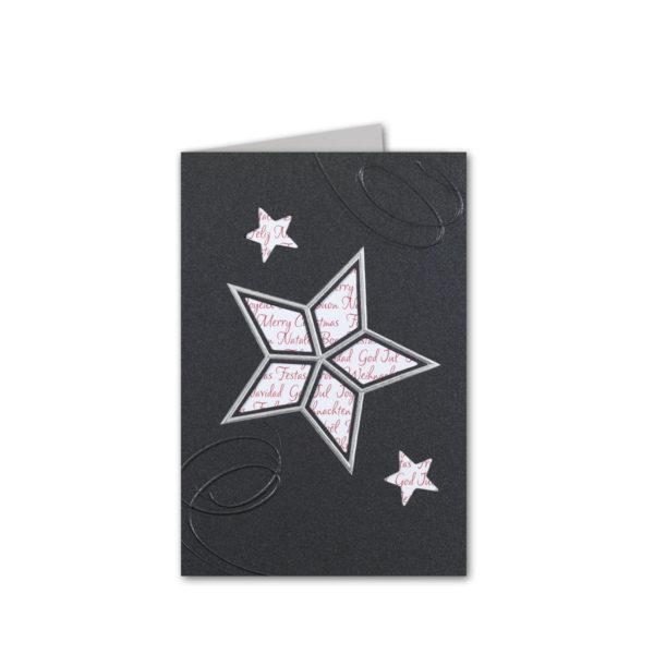 Weihnachtskarte, dunkelgrauer Karton, Folienprägung silber, Blindprägung, inkl. Einleger mit rotem Schriftzug Klappkarte