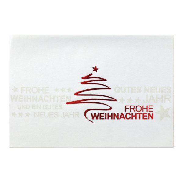 Weihnachtskarte, weißer Karton, Folienprägung silber und rot, Transprint mit Folieprägung rot, Moderne, preiswerte Karte mit Tannenbaum