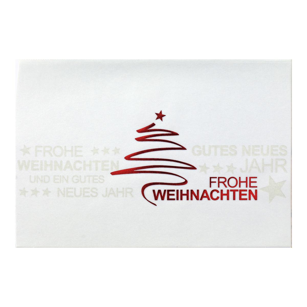 Moderne Weihnachtskarten.Weihnachtskarte Weisser Karton Folienpragung Silber Und Rot Transprint Mit Foliepragung Rot