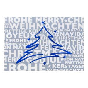 Weihnachtskarte, weißer Karton, Folienprägung silber und blau, Transprint