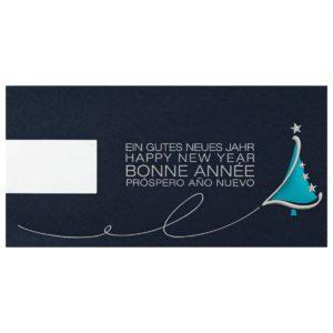 Weihnachtskarte, LOGO-Karte, dunkelblauer Karton, Folienprägung silber und türkis, Stanzung, inkl. Einlegeblatt weiß Klappkarte