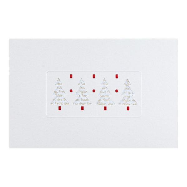 Weihnachtskarte, Laserkarte, irisierender weißer Karton, Blindprägung rot, inkl. Einlegeblatt mit Goldprägung Klappkarte