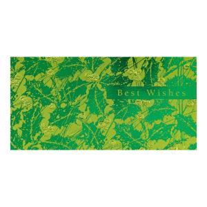 """Weihnachtskarte, grüner Designkarton """" Best Wishes"""", Blindprägung Klappkarte"""