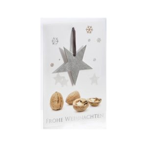 Weihnachtskarte, Nussknackerkarte, hochglanz lackiert, Edelstahlstern auf Lederband