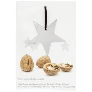Weihnachtskarte, Nussknackerbeiblatt, hochglanz lackiert, Edelstahlstern auf Lederband