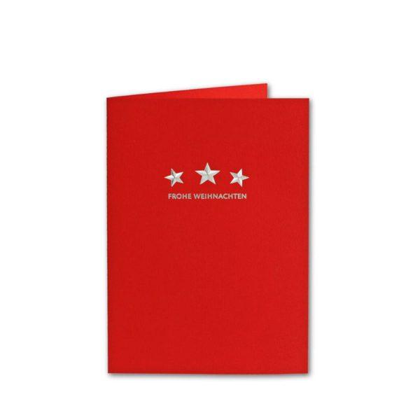 Design-Karton - rot-geriffelt- mit Silberfolienprägung- weisses Einlegeblatt Klappkarte