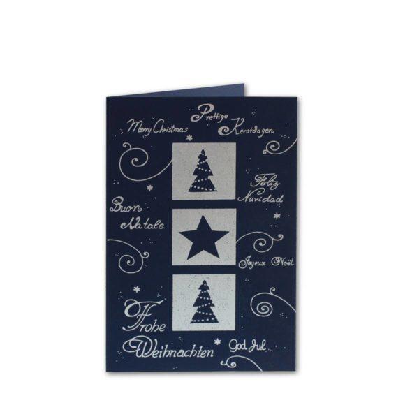 Silberfolienprägung auf dunkelblauem Karton mit weissem Einlegeblatt Klappkarte