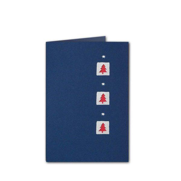 Weihnachtskarte, dunkelblauer Karton, Folienprägung silber, Stanzung, rotes Einlegeblatt