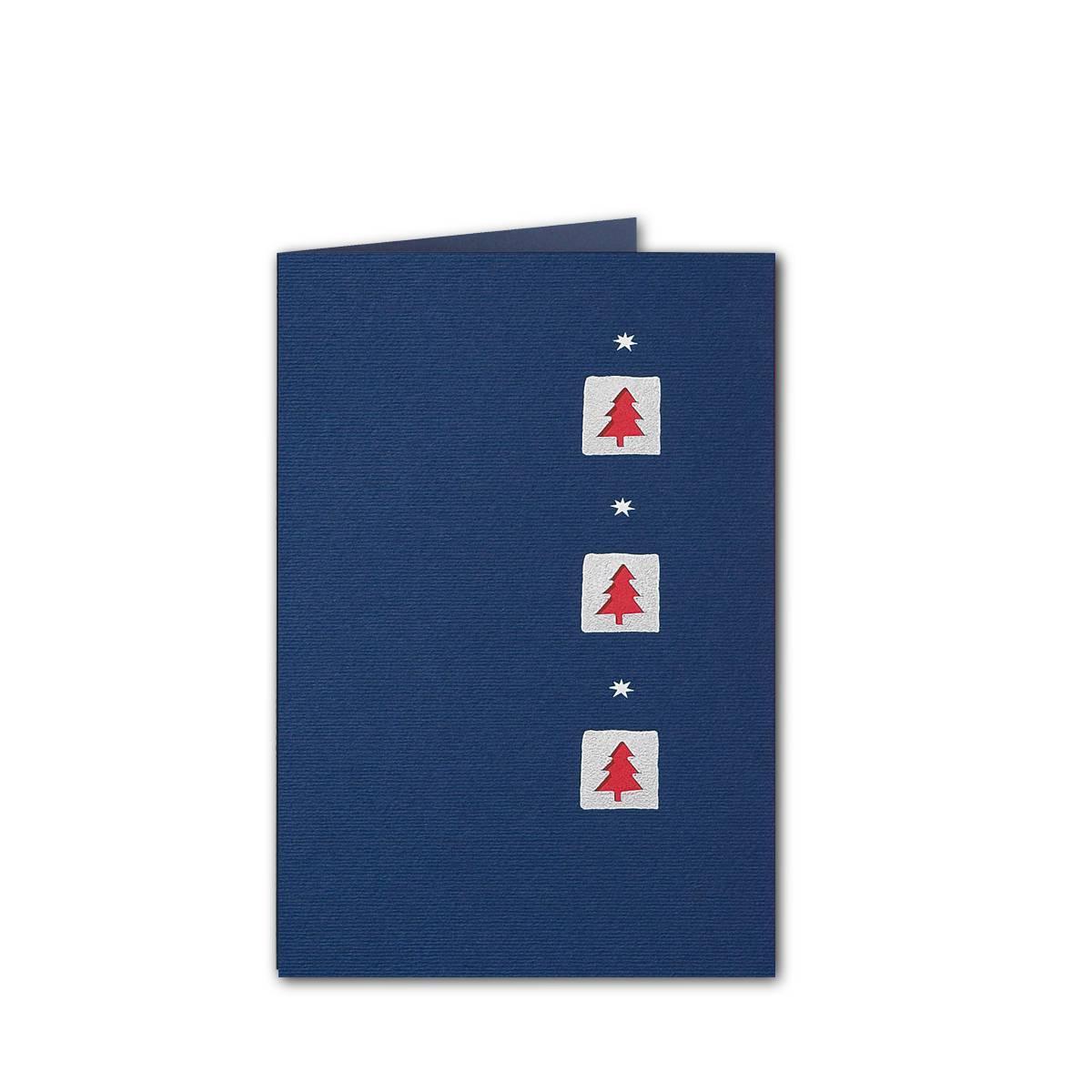 Einlegeblätter Für Weihnachtskarten.Weihnachtskarte Dunkelblauer Karton Folienprägung Silber Stanzung Rotes Einlegeblatt