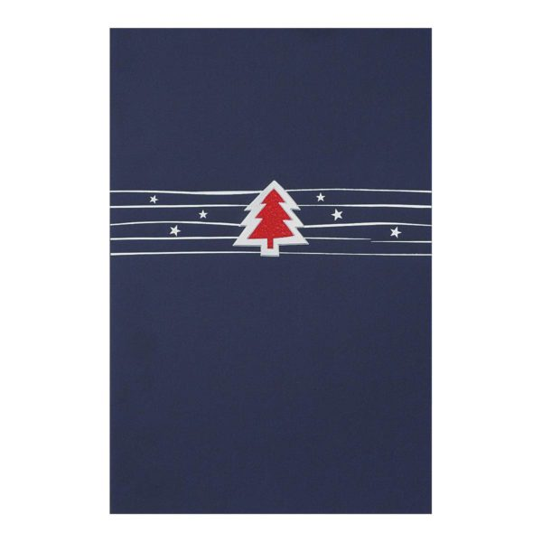 Weihnachtskarte, dunkelblauer Karton, Folienprägung silber und rot, Einlegeblatt weiß