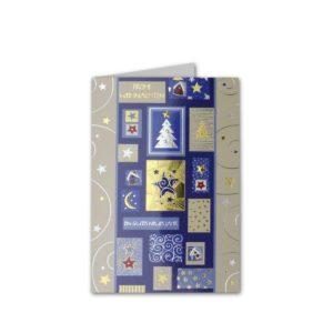 Weihnachtskarte mit hochwertigem Offsetdruck, silberne und goldene Folienprägung Klappkarte