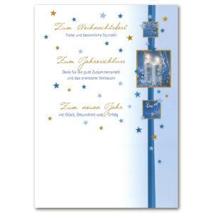 Weihnachtsbrief, silberne Kerzen, Folienprägung gold, mit Text