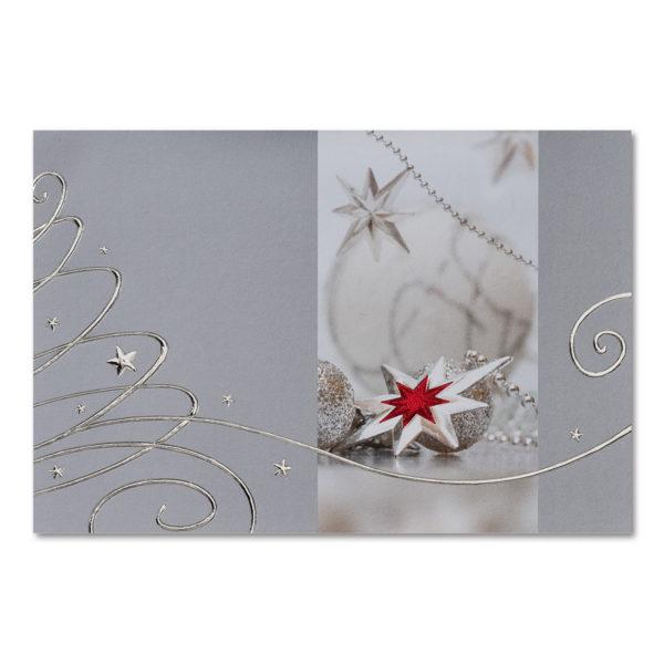 """Weihnachtsklappkarte, hochwertiger Offsetdruck, """"Kugeln und Sterne"""", Folienprägung silber und rot"""