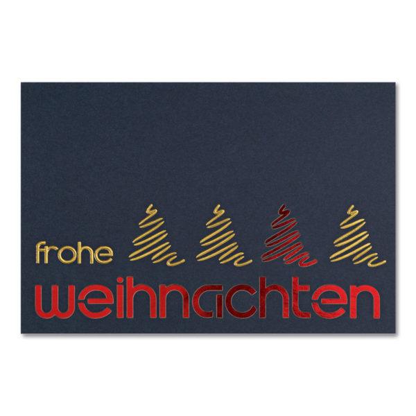 Weihnachtsklappkarte, mit Laserschnitt , Designkarton in dunkelblau, Folienprägung gold, inkl. Einlegeblatt mit Folienprägung