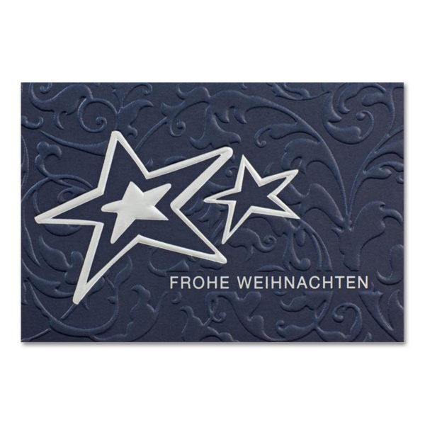 Weihnachtsklappkarte, Designkarton in blau, Folienprägung silber, mit Blindprägung, inkl. Einlegeblatt