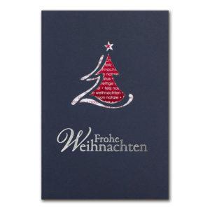 Weihnachtsklappkarte, mit Laserschnitt Designkarton in dunkelblau , Folienprägung silber, inkl. Einlegeblatt mit Folienprägung