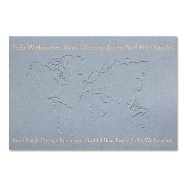 Weihnachtsklappkarte, Designkarton in grau, Folienprägung gold, mit Tiefprägung, inkl. Einlegeblatt