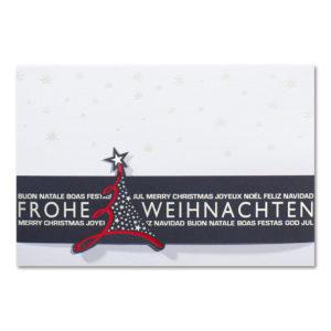 Weihnachtskarte, weißer Karton, Folienprägung transparent, dunkelblaue Banderole mit Folienprägung silber und rot , Einlegeblatt